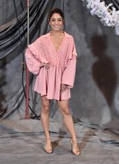 dress,shirt dress,pink dress,vanessa hudgens,celebrity,mini dress,sandals,sandal heels