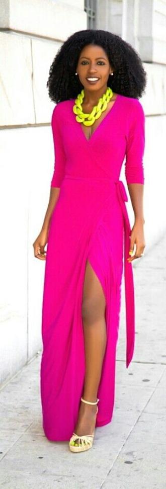 dress fashion maxi maxi dress slit dress tie dress magenta fuschia outfit long dress v neck dress long sleeve dress wrap dress jewels shoes girly classy neon