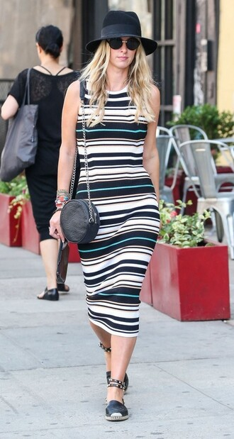 dress hat midi dress stripes nicky hilton flats purse espadrilles summer dress summer outfits shoes