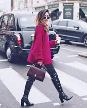 sweater,tumblr,pink sweater,fuschia,pants,black pants,leather pants,black leather pants,boots,black boots,bag,handbag,sunglasses