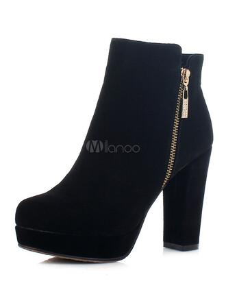 shoes boots zip black medium heels