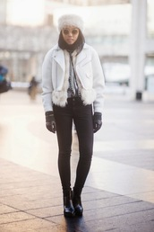 fashion of a novice,blogger,gloves,fur hat,white jacket,winter jacket,jacket,sweater,sunglasses,shoes,white fur hat,leather jacket,round sunglasses,jeans,black jeans,winter outfits,winter look,boots,ankle boots,pointed toe,pointed boots