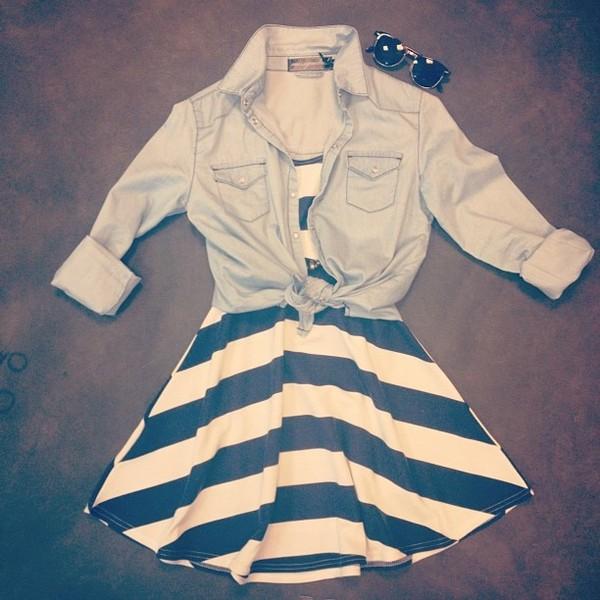 dress clothes stripes stripes stripes striped dress striped dress striped dress navy blue and white navy blue white white navy denim jacket denim jacket blouse