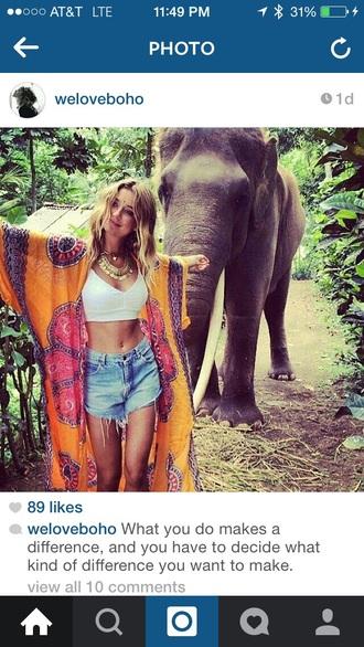 cardigan hippie high waisted shorts elephant tye dye gypsy style gold necklace