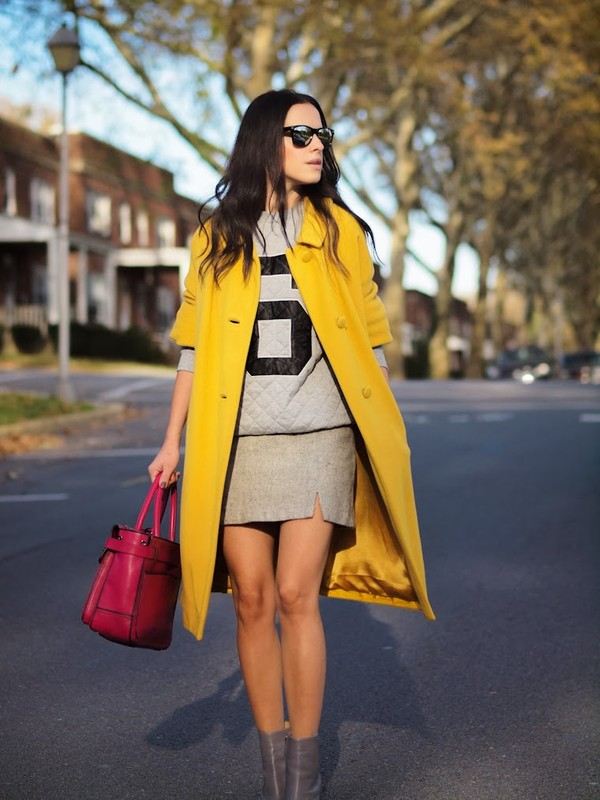 bittersweet colours coat sweater skirt shoes bag