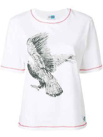 t-shirt shirt eagle women white cotton print top