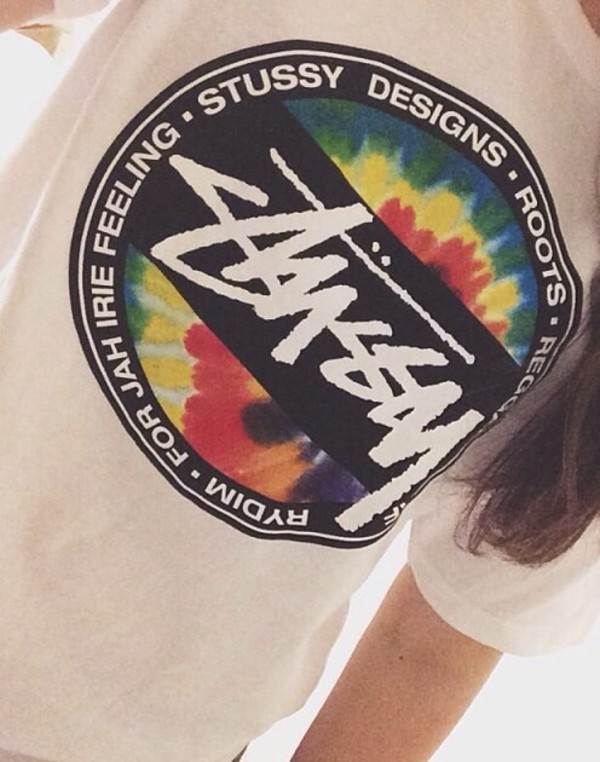 t-shirt stussy fashion hipster hype white dress white colors block cool tie dye style skater skateboard skateboard vans warped tour