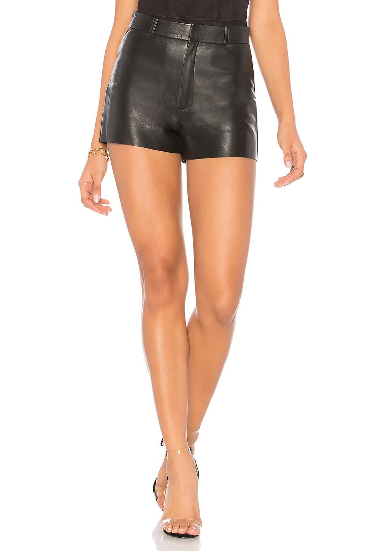 LAMARQUE Garnet Leather Shorts in black