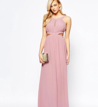 dress asos maxi dress pink homecoming dress halter neck