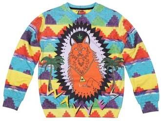 sweater clothes colorful outfit print bright print sweater printed sweater ornament sweater/sweatshirt sweatshirt crewneck print sweatshirt printed sweatshirt cat print streetwear streetstyle fashion