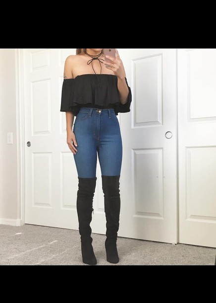 Jeans: top, crop tops, black, choker necklace, thigh high boots ...
