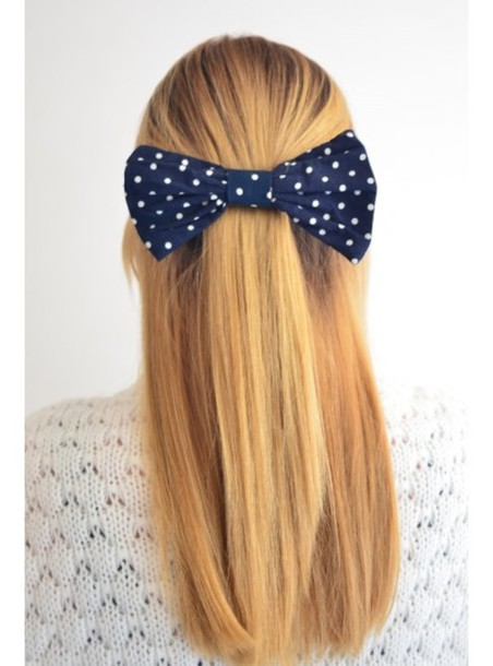 hair accessory bow polka dots