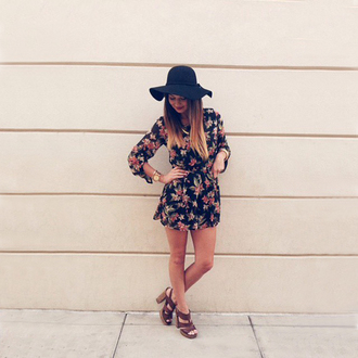 romper angl floral floral romper black hat boho bohemian boho chic hippie hippie chic floppy hat black michael kors michael kors watch gold watch love instagram ombre hair jewels ootd summer beautiful