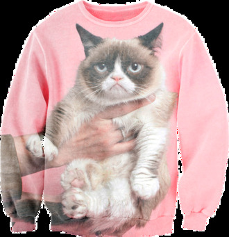 sweater cats grumpy pink not happy jumper swag tumblr tumblr girl cute angry hand grumpy cat sexy sweater fusion clothing fusion sexy sweaters original sexy sweaters fusion sweatshirts printed sweater full printed clothing crewneck animals
