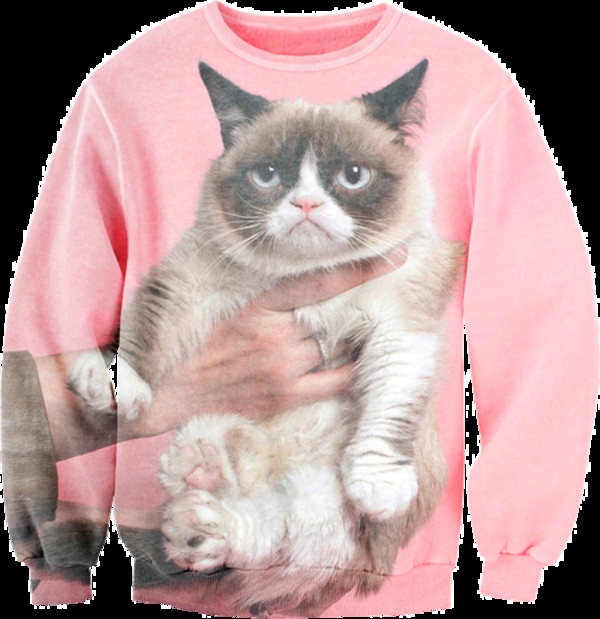 sweater cats grumpy pink not happy jumper swag tumblr tumblr girl tumblr girl cute angry hand grumpy cat