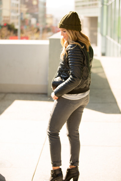 gal meets glam jacket sweater jeans shoes bag sunglasses hat