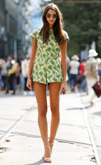 jumpsuit clothes retro green spring summer milan fashion week ss14 romper mfw