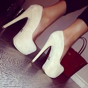 shoes,high heels,chanel,suede heels,beige,hott,bag,beige heels,heels,nude,suede,velvet