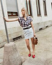 belt,shirt,top,skirt,shoes,bag