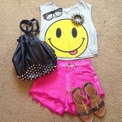 t-shirt,crop tops,High waisted shorts,shorts,happy face,muscle tee,tank top,studs,studded bag,pink,sandals,hipster,cut offs,cut off shorts,high waisted,clothes,shoes,top,cute,shirt