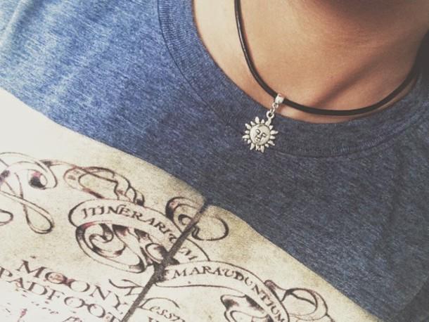 t-shirt harry potter heathered t-shirt shirt book spell sun choker map map print book print spells choker necklace choker necklace