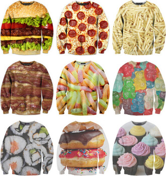 sweater sexy sweater food fast food junk food sweatshirt clothes weheartit sushi sweaters cute print food yum oversized sweater eat sleep wear shirt sushi shirt pizza shirt cupcake gummy bears pizza hamburger fries gummy worms bacon donut patterned sweater super cute grunge top fries before guys food sweater skirt