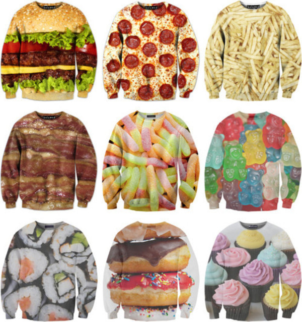 sweater sexy sweater food fast food junk food sweatshirt clothes weheartit sushi sweaters cute print food yum oversized sweater eat sleep wear shirt sushi shirt pizza shirt cupcake gummy bears pizza hamburger fries gummy worms bacon sweater donut patterned sweater super cute grunge top fries before guys food food sweater skirt
