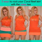 skirt,coral reef,sex kitten couture,coral,aqua,turquoise,orange,neon,summer,summer skirt,bodycon,homies,homies t shirt