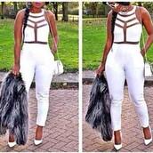 jumpsuit,white,high heels,pumps,mini bag,shoes,bag