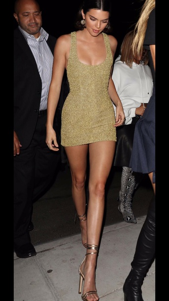 dress shiny gold dress kendall jenner mini dress