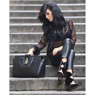 bag tumblr see through black blouse blouse black bag black leather pants leather pants black pants velvet velvet shoes high heels all black everything