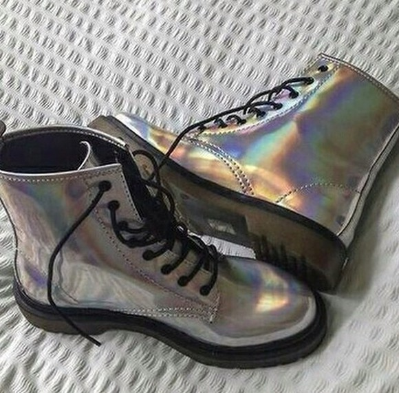 holographic silver metallic shoes holographic shoes boots DrMartens grunge grunge shoes metallic shoes punk