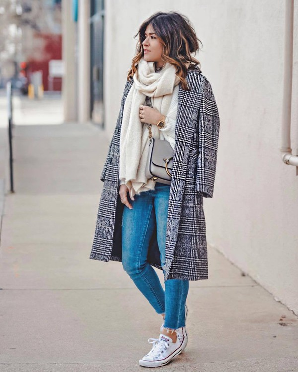 coat long coat plaid jeans white converse scarf white sweater knitted sweater crossbody bag