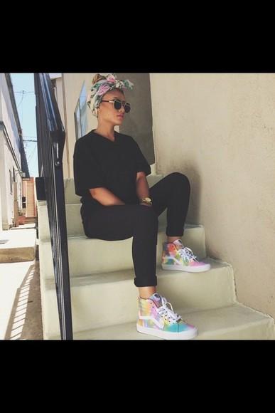vans rainbow high top sneakers