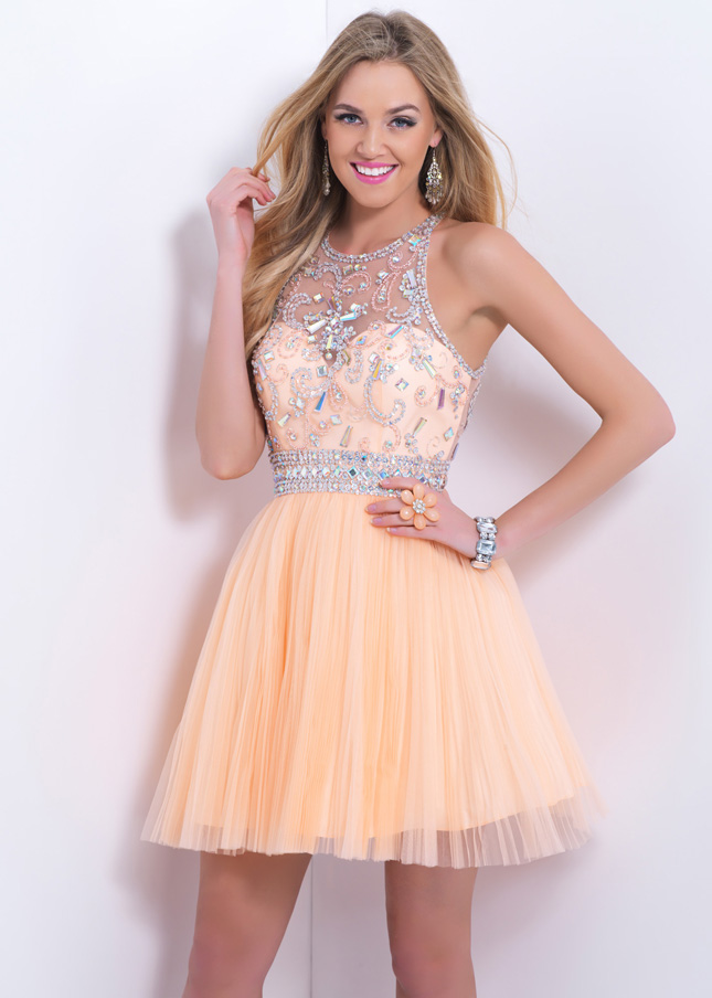 Beaded illusion high neck blush 9876 homecoming dress light apricot short [blush 9876 homecoming dress]