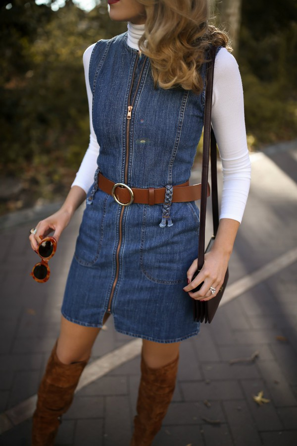 dress tumblr denim denim dress mini dress zip belt top white top turtleneck white turtleneck top