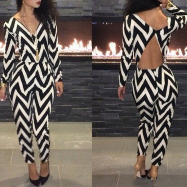 Fashion cute striped jumpsuit