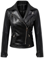 jacket,cool,fall outfits,trendy,faux leather,leather jacket,long sleeves,biker jacket,zip,black,zaful