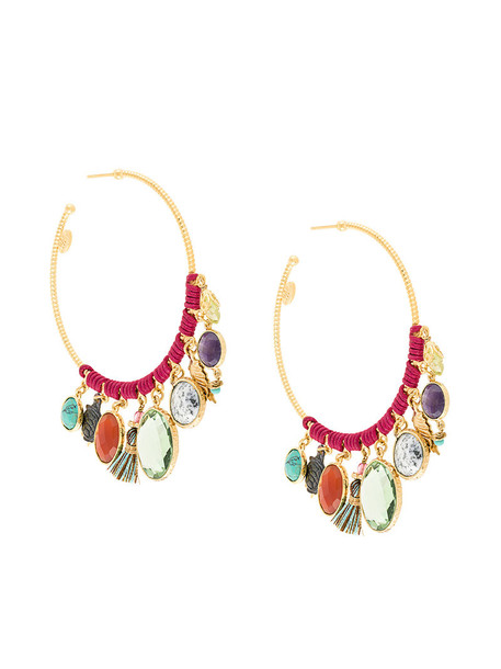 Gas Bijoux women earrings hoop earrings gold grey metallic jewels