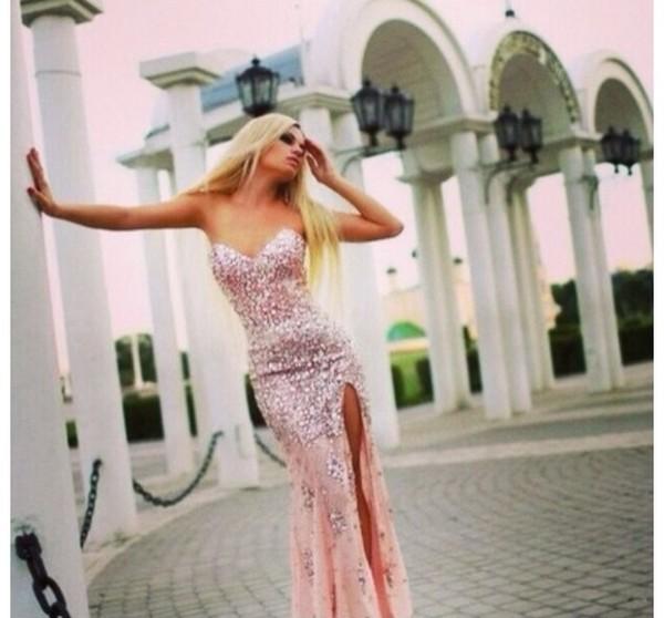dress pink prom dress long dress