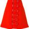Carven - buckle detail skirt - women - acetate/viscose/wool - 38, yellow/orange, acetate/viscose/wool