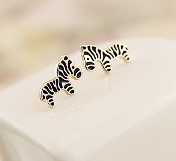 jewels golden earrings zebra