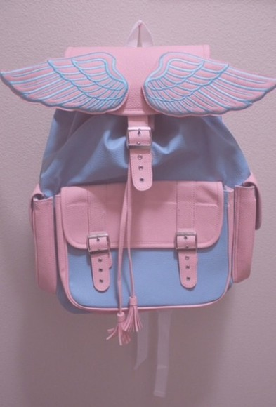 pink unicorn pastel bag blue wings