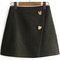 Heart button side zipper wrap skirt -shein(sheinside)