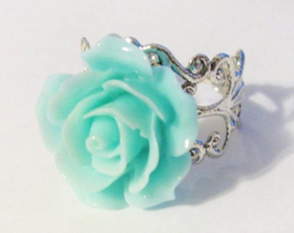 mint green jewels rose ring silver ring