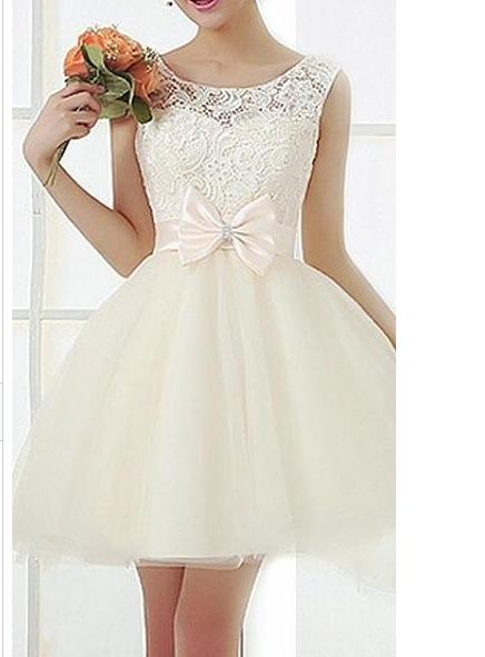 Fashion lace bow hot dress