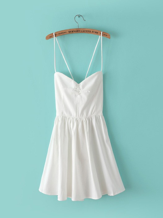 Summer sexy stylish backless back cross solid color harness dress