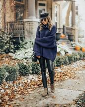 sweater,blue sweater,hat,leather pants,tumblr,fisherman cap,pants,black pants,boots,ankle boots,fall outfits,oversized sweater,oversized