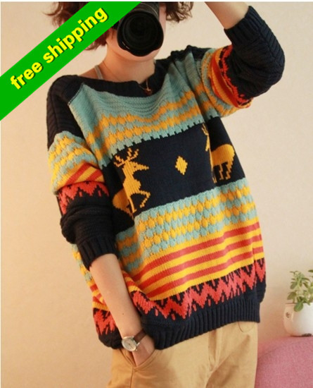 high quality 2013 woolen O  collar pullover animal reindeer  sleeve long Knitted  Winter Warm oversized Christmas sweater Women-inPullovers from Apparel & Accessories on Aliexpress.com