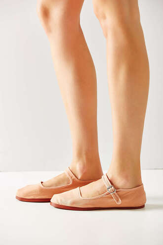 shoes mary jane nude blush pink flats